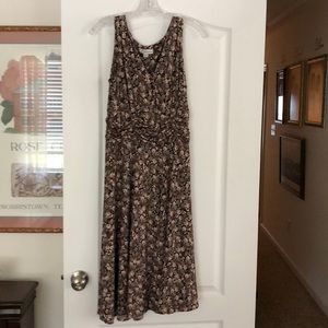 Ladies dress.  Brown turquoise print